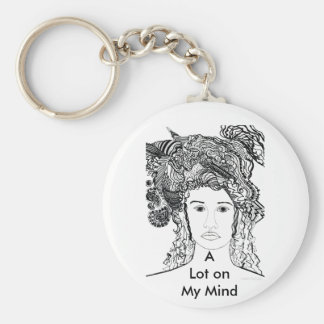 Woman's Face:  Big Heavy Hair with Designs Keychain