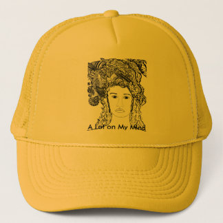 Woman's Face:  Big Heavy Hair with Designs Trucker Hat