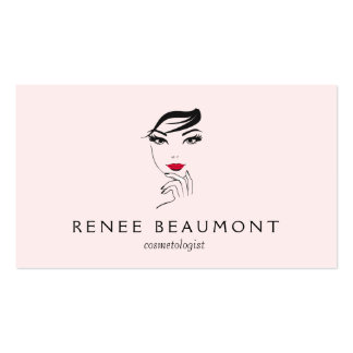 Woman's Face with Red Lips Elegant Pink Business Card