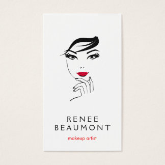 Woman's Face with Red Lips Elegant White Business Card