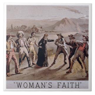 'Woman's Faith' (colour litho) Tile