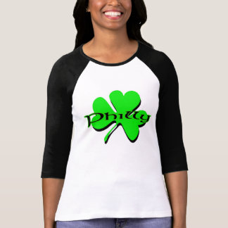 Woman's Fitted 3/4 Sleeve Philly Shamrock Raglan T-Shirt