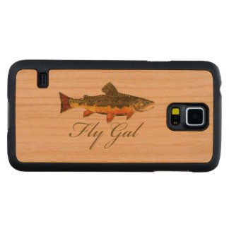 Woman's Fly Fishing Carved Cherry Galaxy S5 Slim Case