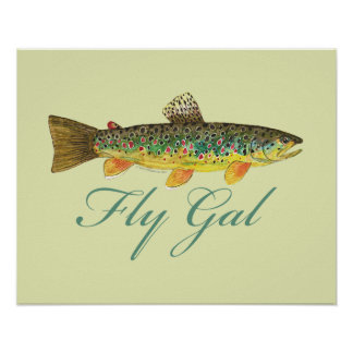 Woman's Fly Fishing Poster