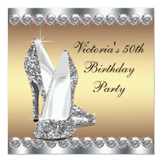 Womans Gold 50th Birthday Party Card