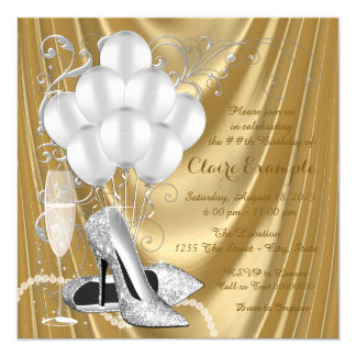"Womans Gold and Silver Birthday Party Luxe 5.25"" Square Invitation Card"