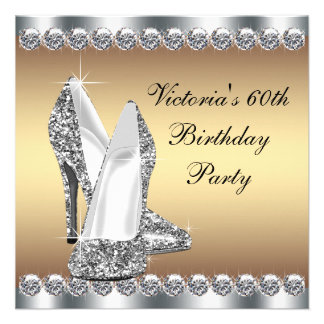 Womans Gold Birthday Party Announcement