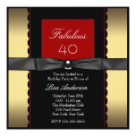 Womans Gold Black and Red Birthday Party Custom Announcements