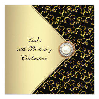 Womans Gold Black Pearl Classy 50th Birthday Party Card