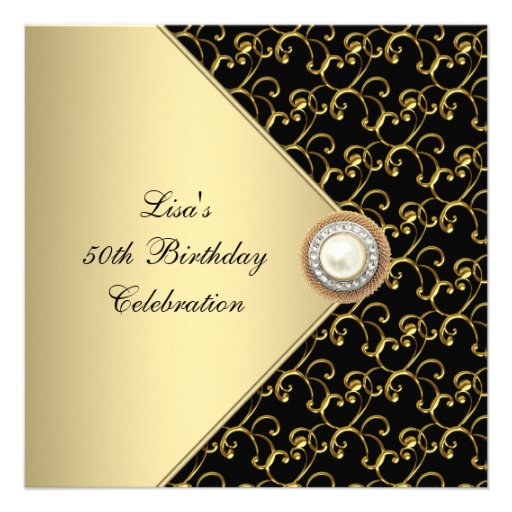 Personalized black gold 50th birthday party invitations womans gold black pearl classy 50th birthday party invites filmwisefo