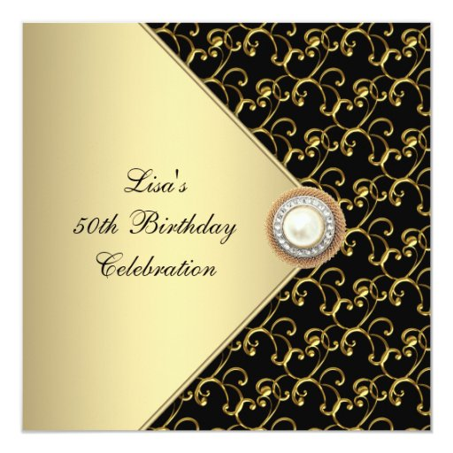 Womans Gold Black Pearl Classy 50th Birthday Party 5.25x5.25 Square Paper Invitation Card