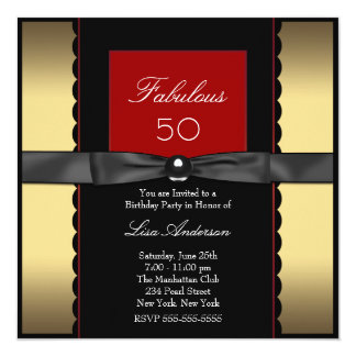 Womans Gold Black Red 50th Birthday Party Card