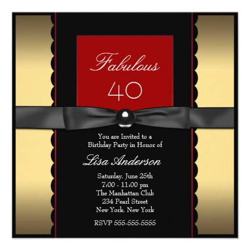 Womans Gold Black Red Classy 40th Birthday Party Custom Announcements