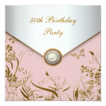 Womans Gold Butterfly 50th Birthday Party Custom Invite