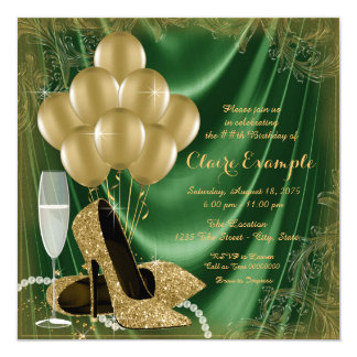 Womans Green and Gold Birthday Party Satin Glitter Card