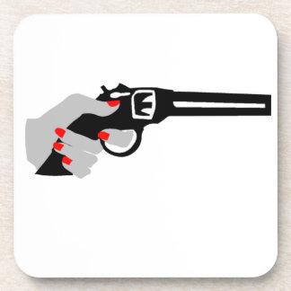 Woman's Hand and Gun Beverage Coaster