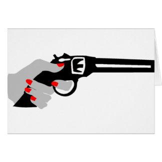 Woman's Hand and Gun Card
