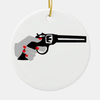 Woman's Hand and Gun Ceramic Ornament