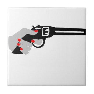 Woman's Hand and Gun Ceramic Tile