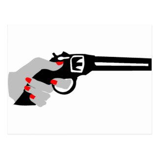 Woman's Hand and Gun Postcard