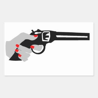 Woman's Hand and Gun Rectangular Sticker