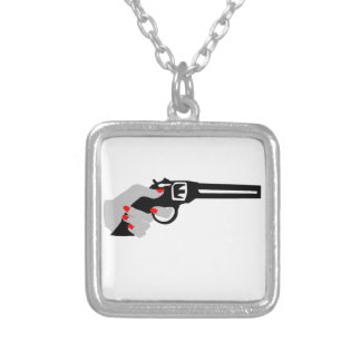 Woman's Hand and Gun Silver Plated Necklace
