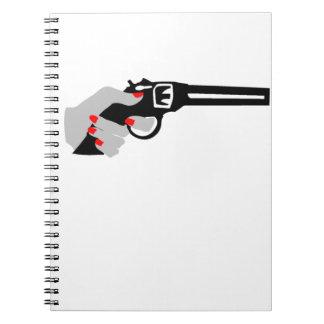 Woman's Hand and Gun Spiral Notebook