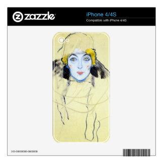 Womans head by Gustav Klimt iPhone 4 Skins