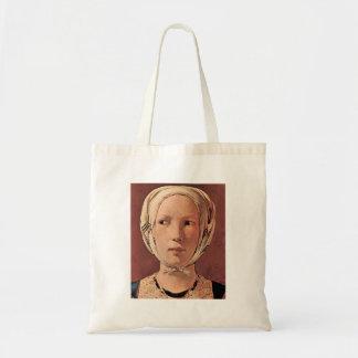 Woman's head frontally by Georges de La Tour Canvas Bag