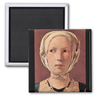 Woman's head frontally by Georges de La Tour 2 Inch Square Magnet