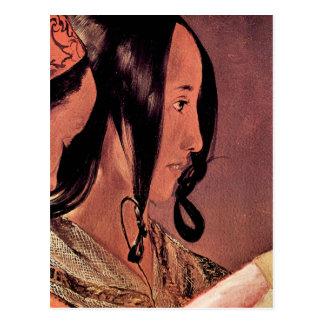 Woman's head in profile by Georges de La Tour Postcard