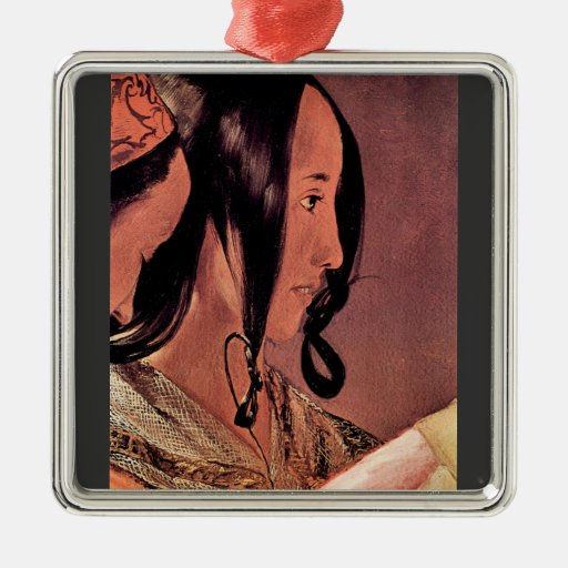 Woman's head in profile by Georges de La Tour Square Metal Christmas Ornament
