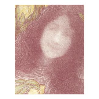 Woman's Head with Flowers Letterhead