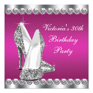 Womans Hot Pink Birthday Party Card