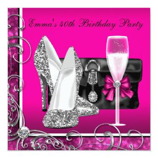 Womans Hot Pink Birthday Party Custom Invitation