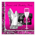 Womans Hot Pink Birthday Party Invitation