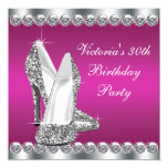 Womans Hot Pink Birthday Party 5.25x5.25 Square Paper Invitation Card