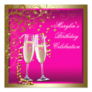Womans Hot Pink Gold Birthday Party Card