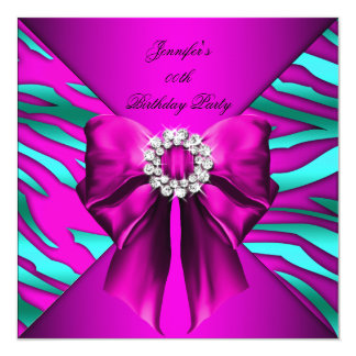 Woman's Hot Pink Zebra Teal Birthday Party Card