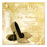 Womans Ivory and Gold Birthday Party 5.25x5.25 Square Paper Invitation Card
