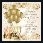 "Womans Ivory and Gold Birthday Party Invitation<br><div class=""desc"">Woman"