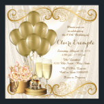"Womans Ivory and Gold Birthday Party Invitation<br><div class=""desc"">Woman's ivory and gold birthday party invitation featuring beautiful gold balloons, champagne , gold box and perfume bottle on a glamorous and luxurious cream ivory beige satin background. This elegant ivory and gold birthday party invitation is easily customized for your event by simply adding your details in the font style...</div>"