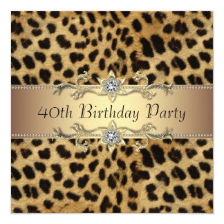 Womans Leopard 40th Birthday Party Invitation