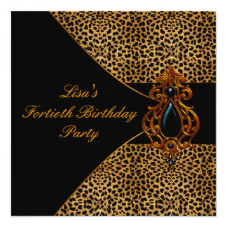 Womans Leopard  40th Birthday Party Invites