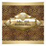 Womans Leopard 40th Birthday Party Invitations