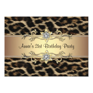Womans Leopard Birthday Party 5x7 Paper Invitation Card