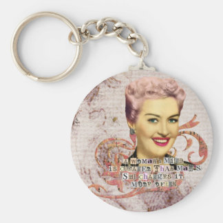 Womans Mind Digital Collage Pink Haired Lady Keychain