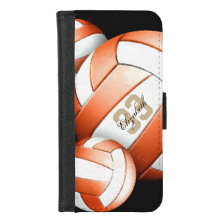 Woman's name orange white volleyballs iPhone 8/7 wallet case