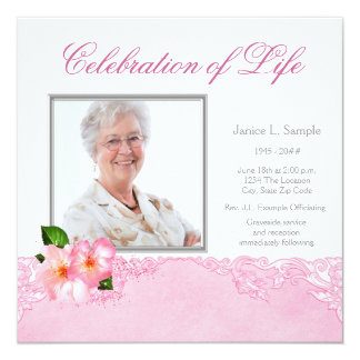 "Womans Photo Memorial Service Announcement 5.25"" Square Invitation Card"