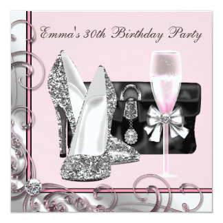 Womans Pink 30th Birthday Party Invitations